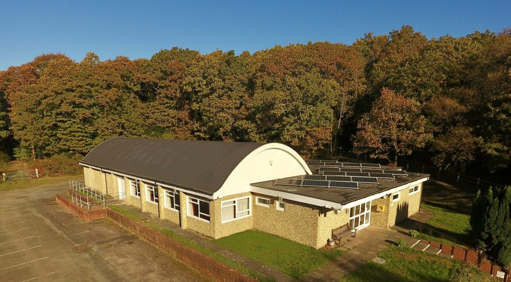 Village Hall with curved room from the air