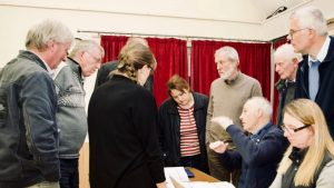 Parish councillors gathered around a desk